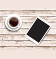 tablet and coffee on wooden vector image