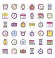 time icons alarm clock hourglass timer vector image