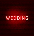 wedding neon sign vector image vector image