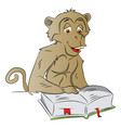 wise monkey reading a book vector image