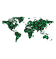world map pattern leaves tree green color shade vector image vector image