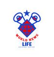 world news life original design logo social mass vector image vector image