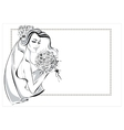 Wedding Day invitation with beautiful fiancee vector image