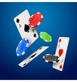 Casino poker design template Falling poker cards vector image