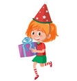 a happy girl with present box vector image