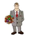 A man arrives with flowers for a date vector image