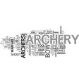 archery three noted histories text word cloud vector image vector image