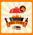 Bbq time card with grill objects and icons vector image