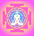 buddha over sri yantra or sri chakra form vector image