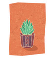 cactus in hand drawn flower pot vector image vector image