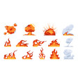 cartoon fire flame flat fireball smoke and vector image