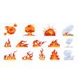 cartoon fire flame flat fireball smoke vector image vector image