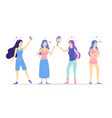 cartoon love yourself girls concept characters vector image