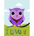 Cartoon owl on a tree branch card vector image