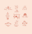 christmas labels hand sketch style peach vector image