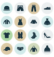 clothes icons set collection of trilby sarafan vector image