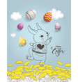 cute hand drawn bunny on dandelion field colorful vector image vector image