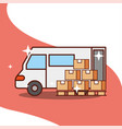 delivery truck with wooden boxes service transport vector image