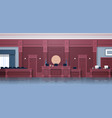 empty courtroom with judge and secretary workplace vector image vector image