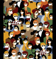 epidemic virus casual people in medical masks vector image