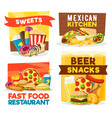 fast food restaurant snacks and bar vector image vector image