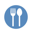 fork and spoon icon placed in blue circle vector image vector image
