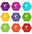 globalization icons set 9 vector image vector image