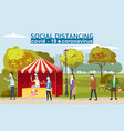 ice cream tent characters mans and womans stand vector image vector image