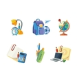 icons set of school elements vector image vector image