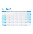 july calendar planner 2020 in clean minimal table vector image