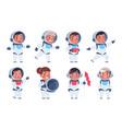 kids astronauts cute cartoon children characters vector image