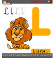 letter l with cartoon lion animal vector image