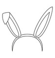 line art black and white bunny party ears vector image vector image