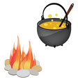 Magic kettle and campfire vector image vector image