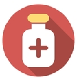 Medication Vial Flat Round Icon with Long Shadow vector image