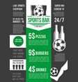menu poster for soccer bar or football pub vector image vector image