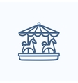 Merry-go-round with horses sketch icon vector image vector image