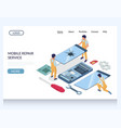 mobile repair service website landing page vector image vector image