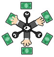 money grab abstract cartoon vector image vector image