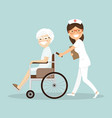 nurse pushing a patient in a wheelchair vector image