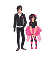 pair of emo kids young man and woman dressed in vector image vector image