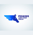pegasus absrtract sign symbol or logo vector image
