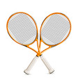 realistic crossed tennis rackets 3d icon vector image vector image