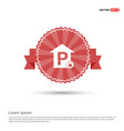 reserved parking place icon - red ribbon banner vector image