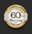 retro vintage style anniversary golden design 60 vector image vector image