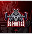 rhino muscle barbel mascot design vector image