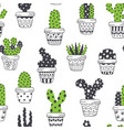 seamless pattern with scandinavian cactus in pots vector image