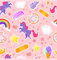 seamless pattern with unicorn stars vector image vector image