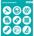 set of round icons white Repairs apartments vector image vector image