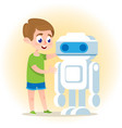 smart boy with robot flat vector image vector image